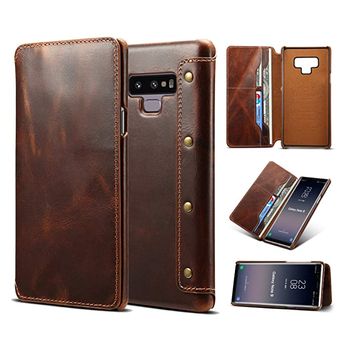 best sneakers 67194 3f845 Amazon.com: Galaxy Note 9 Leather Wallet Case,Genuine Leather [Folio ...