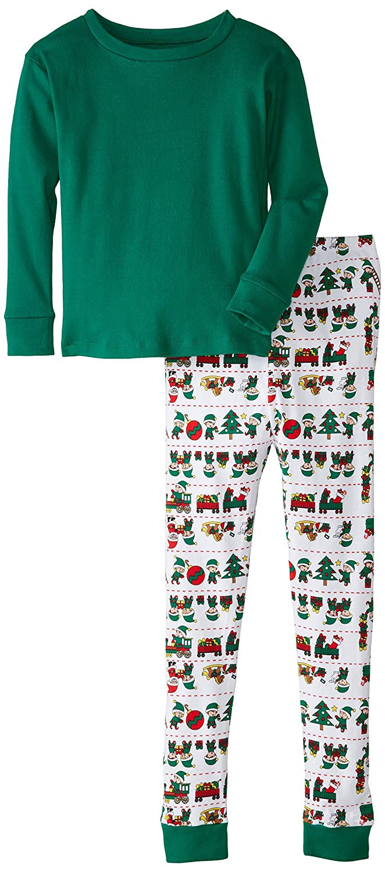 New Jammies Big Boys Organic Cotton Pajamas Santas Elves Solid Top 118S-P62B