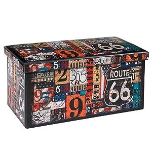 Bonlife - Taburete Plegable de Doble Asiento, de Piel sintética, 76 x 38 x 38 cm