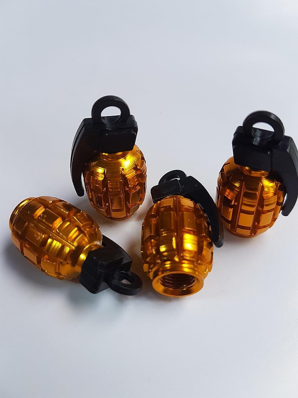 Gold Grenade Car Bike Motorcycle Wheel Tyre Valve Metal Dust Caps