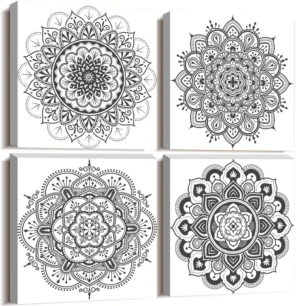 Black and white art Decorative pattern Canvas Wall Art for Living Room Bedroom wall decor Bathroom decorations,4 piece Modern Home decoration inspirational wall paintings Posters Pictures artwork