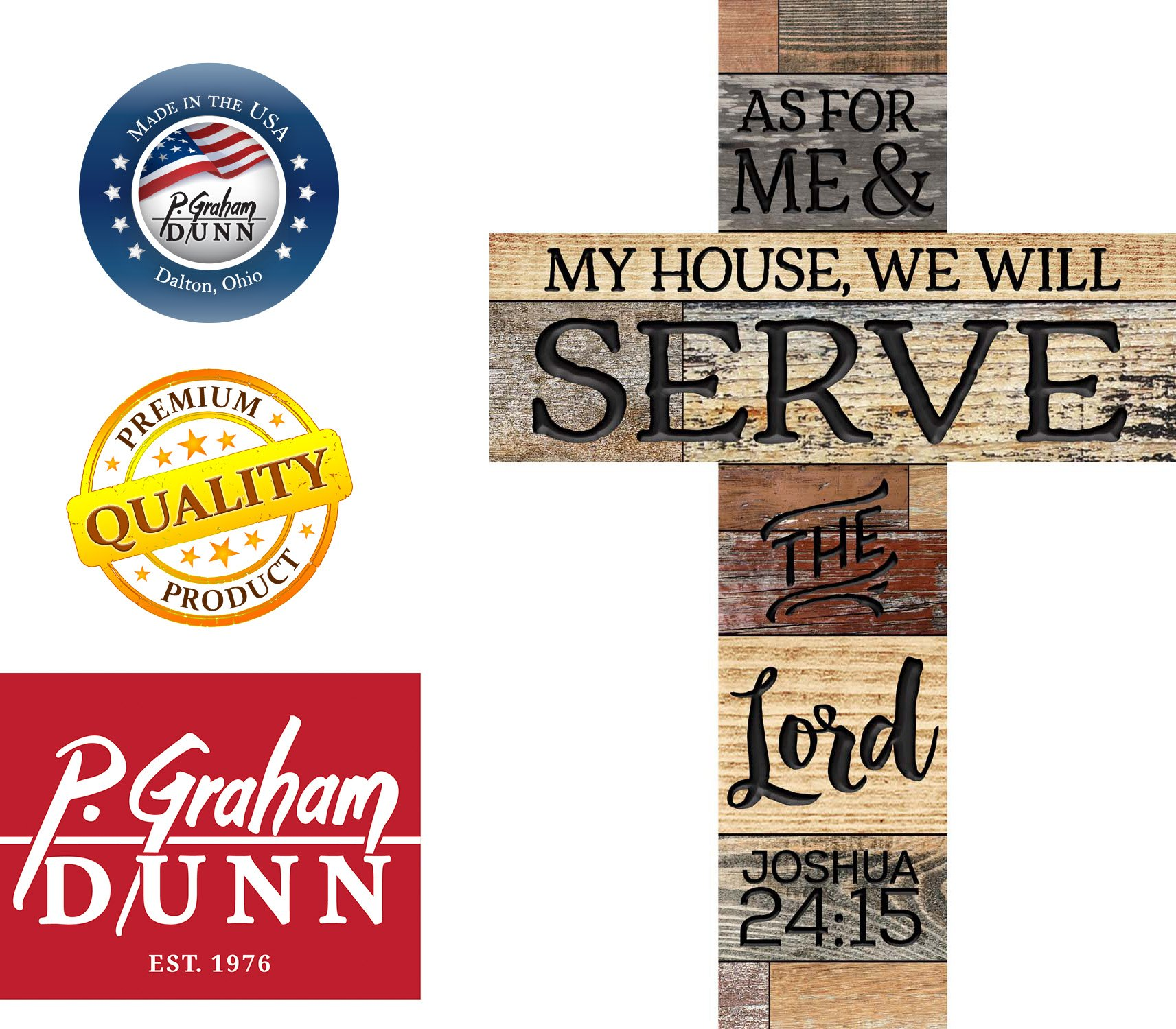 P. Graham Dunn As for Me & My House We Will Serve The Lord 36 x 24 Wood Wall Art Plaque Cross by P. Graham Dunn (Image #2)
