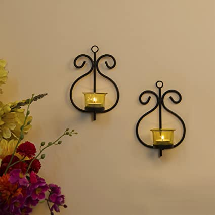 Homesake Set Of 2 Decorative Wall Sconce/Candle Holder With Yellow Glass  And Free T