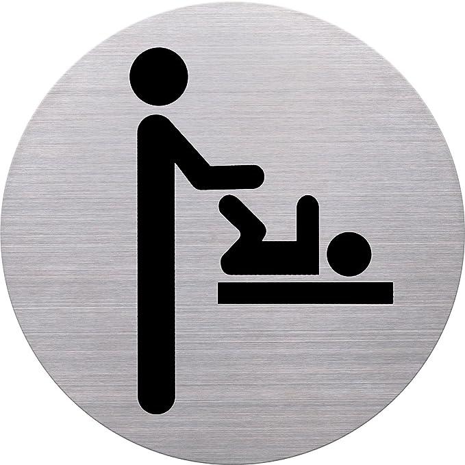 H6271000 helit Edelstahl-Piktogramm WC Damen Ø 11,5 cm silber schwarz WC