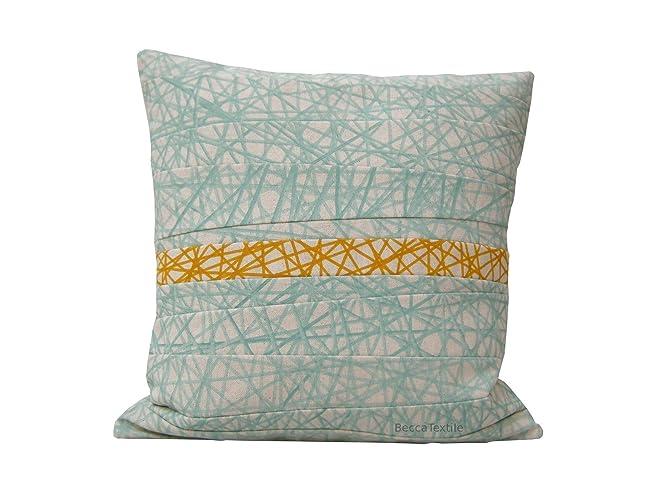 Cojín geometrico mint y amarillo, diseño original de ...
