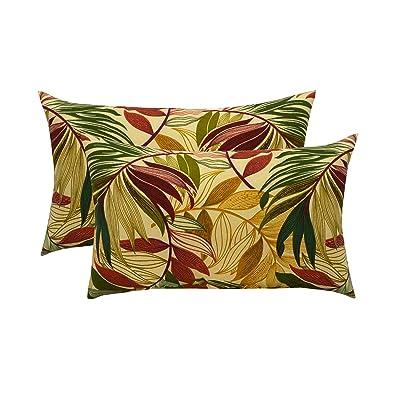 "RSH Décor Set of 2 Indoor/Outdoor Lumbar Rectangular Throw Pillows (12""x20"") Oasis Gem : Industrial & Scientific"