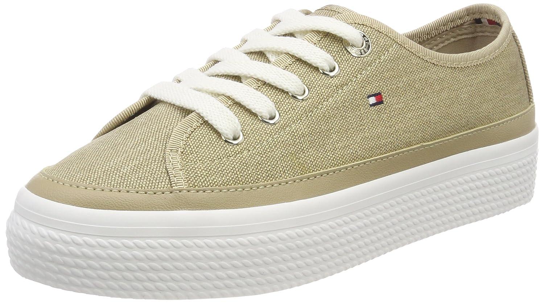 Tommy Hilfiger Damen Glitter Textile Flatform Sneaker Beige (Sand 102)