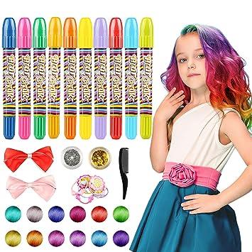 wostoo haarkreide 10 farben colorful temporare haarkreide haare farben fur alle haare weihnachten