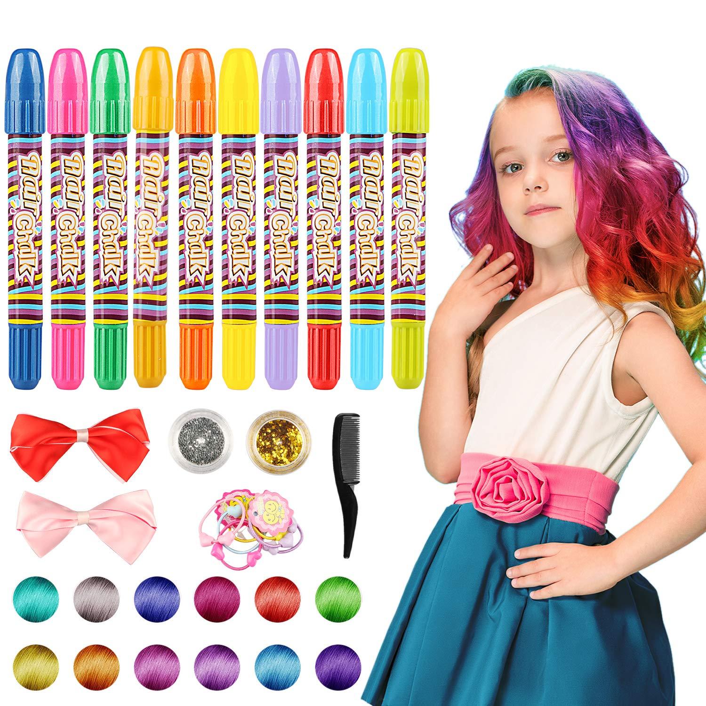 Tiza de Pelo, 10 colores temporal Cabello Tiza color Set Tinte no tóxico Color de tiza para niñas y niños pelo teñido, fiesta, Navidad y Cosplay DIY