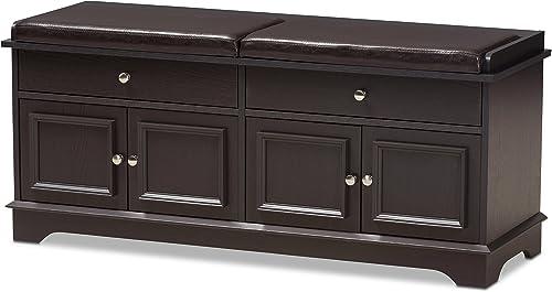 Baxton Studio Macklin Modern and Contemporary Dark Brown Wood 2-Drawer Shoe Storage Bench