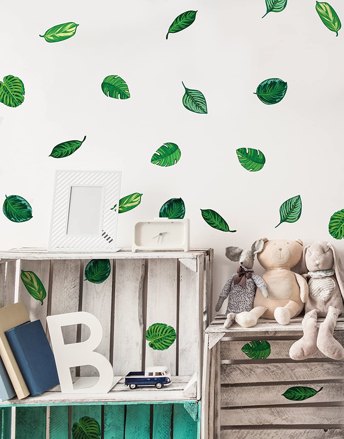 Amazon com stickerbrand set of 48 tropical plant leaves wall decal hawaiian party beach theme decor great for birthdays prom wedding events 6094m
