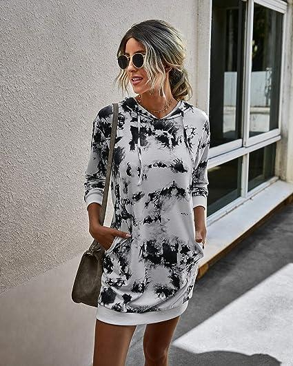 Women Dress Drawstring Hooded Print