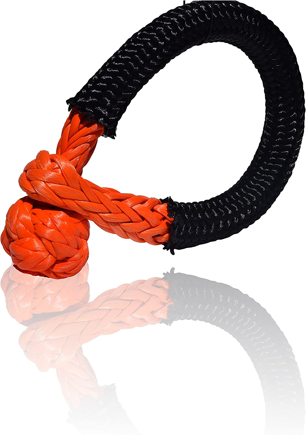 QIQU Synthetic Soft Shackle for Boating ATV UTV SUV 4X4 Truck Recovery Together with Recovery Rope 1 Pack 1//2, Orange
