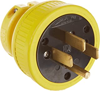 product image for KH Industries P1450DF Rubber/Polycarbonate Rewireable Flip Seal Straight Blade Plug, 2 Pole/4 Wire, 50 amps, 125-250V AC, Yellow