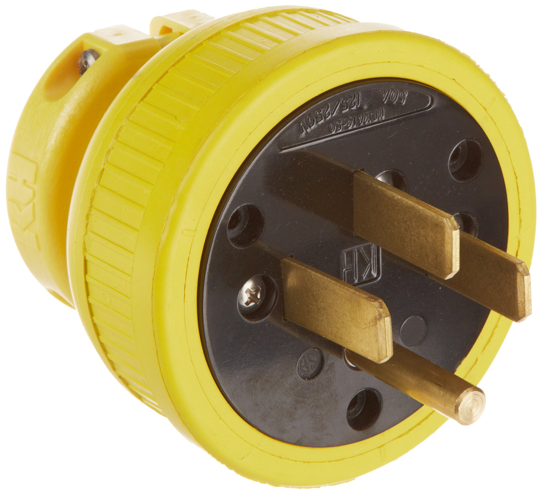 KH Industries P1450DF Rubber/Polycarbonate Rewireable Flip Seal Straight Blade Plug, 2 Pole/4 Wire, 50 amps, 125-250V AC, Yellow