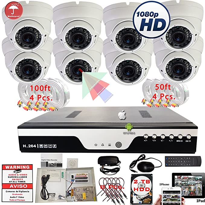 Amazon.com : Evertech 8 Channel HD-CCTV DVR & 1080P Cameras Complete Security Surveillance System Set with 2TB HDD : Camera & Photo