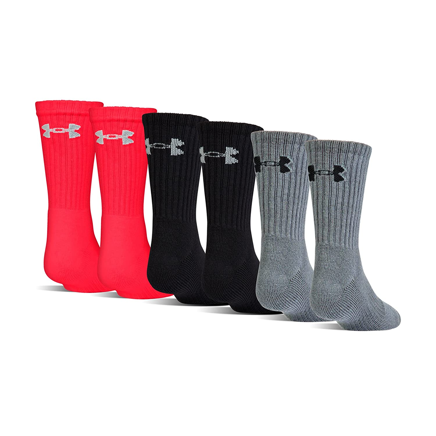 Under Armour Boys Charged Cotton 2.0 Crew Socks (6 Pack) Under Armour Socks U322B-P