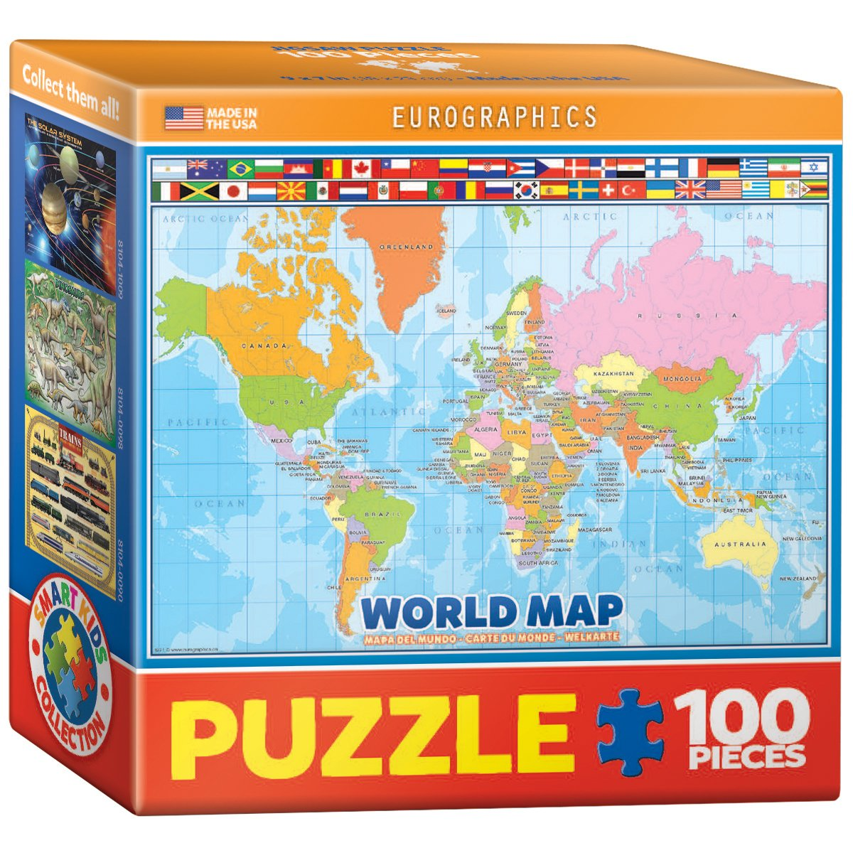 Eurographics world map for kids mini jigsaw puzzle 100 piece free main image gumiabroncs Gallery