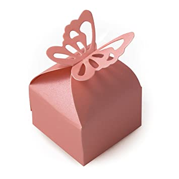 TRIXES 50 Cajas para Recuerdos de Boda con Adorno de Mariposa (Decoración para Fiestas de Cumpleaños o Bodas): Amazon.es: Hogar