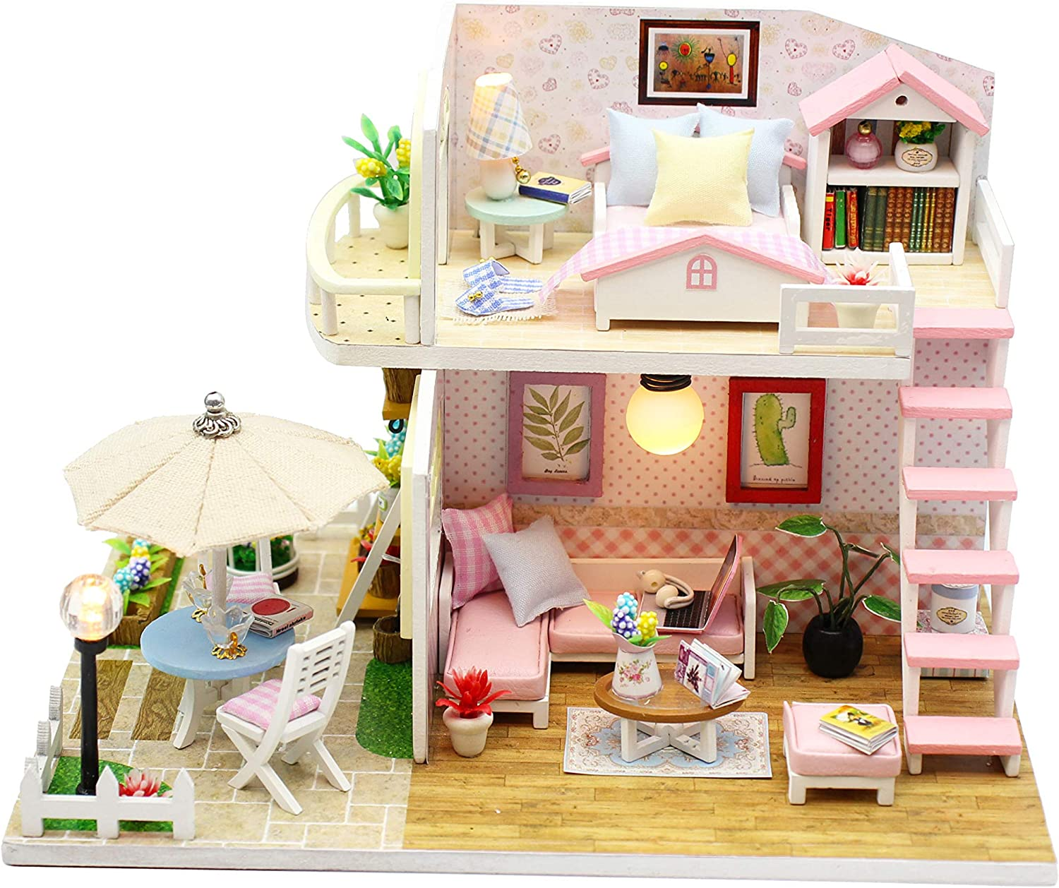 Flever Dollhouse Miniature DIY House Kit Creative Room with Furniture for Romantic Artwork Gift World of Creativity