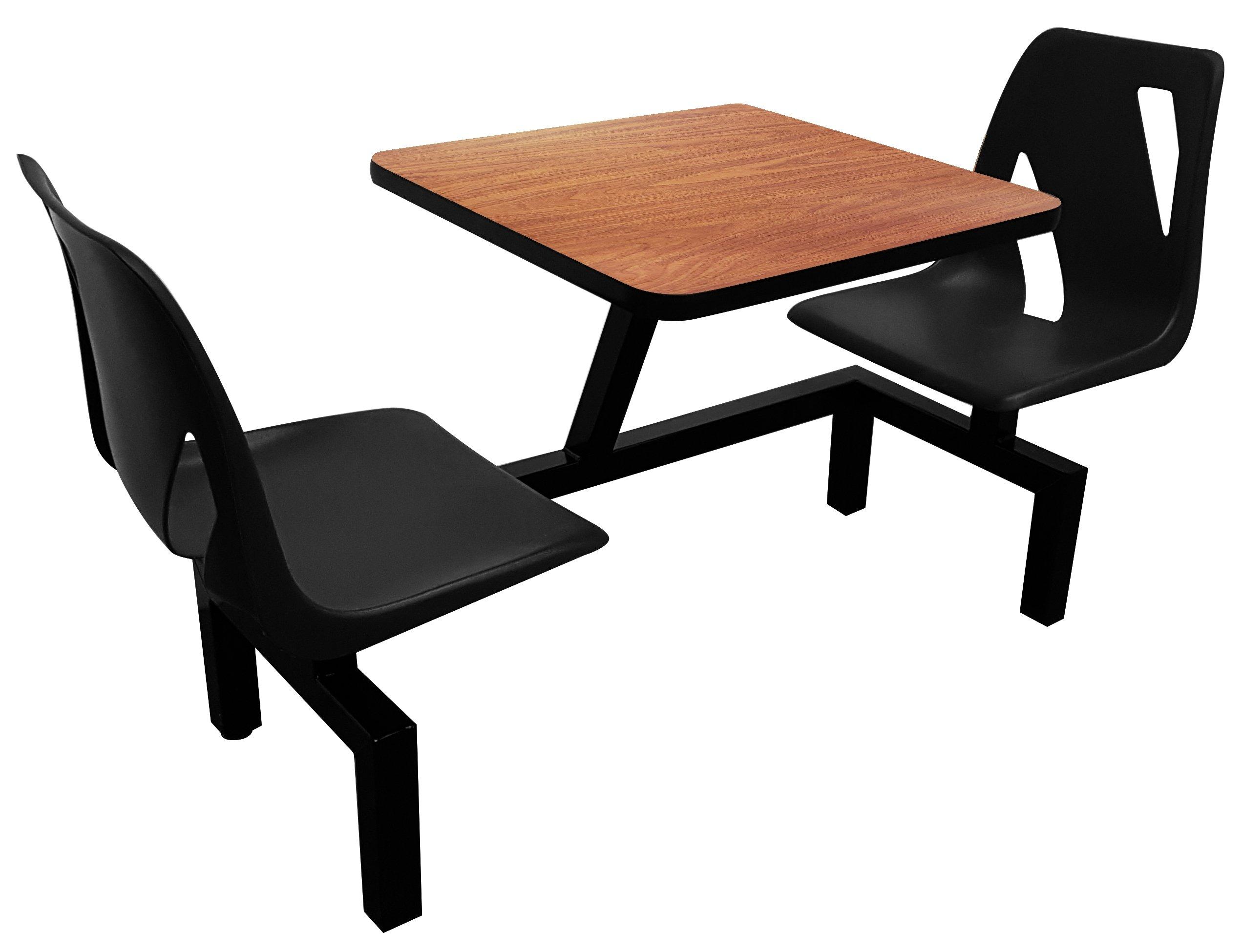 Rodo Industries DS2W-BK-WA DS2W,BK,WA DS Series Public Cluster Modular Seating, Two Seat Wall Units, Black Seat, Walnut Tabletop, 60'' x 24'' x 29''