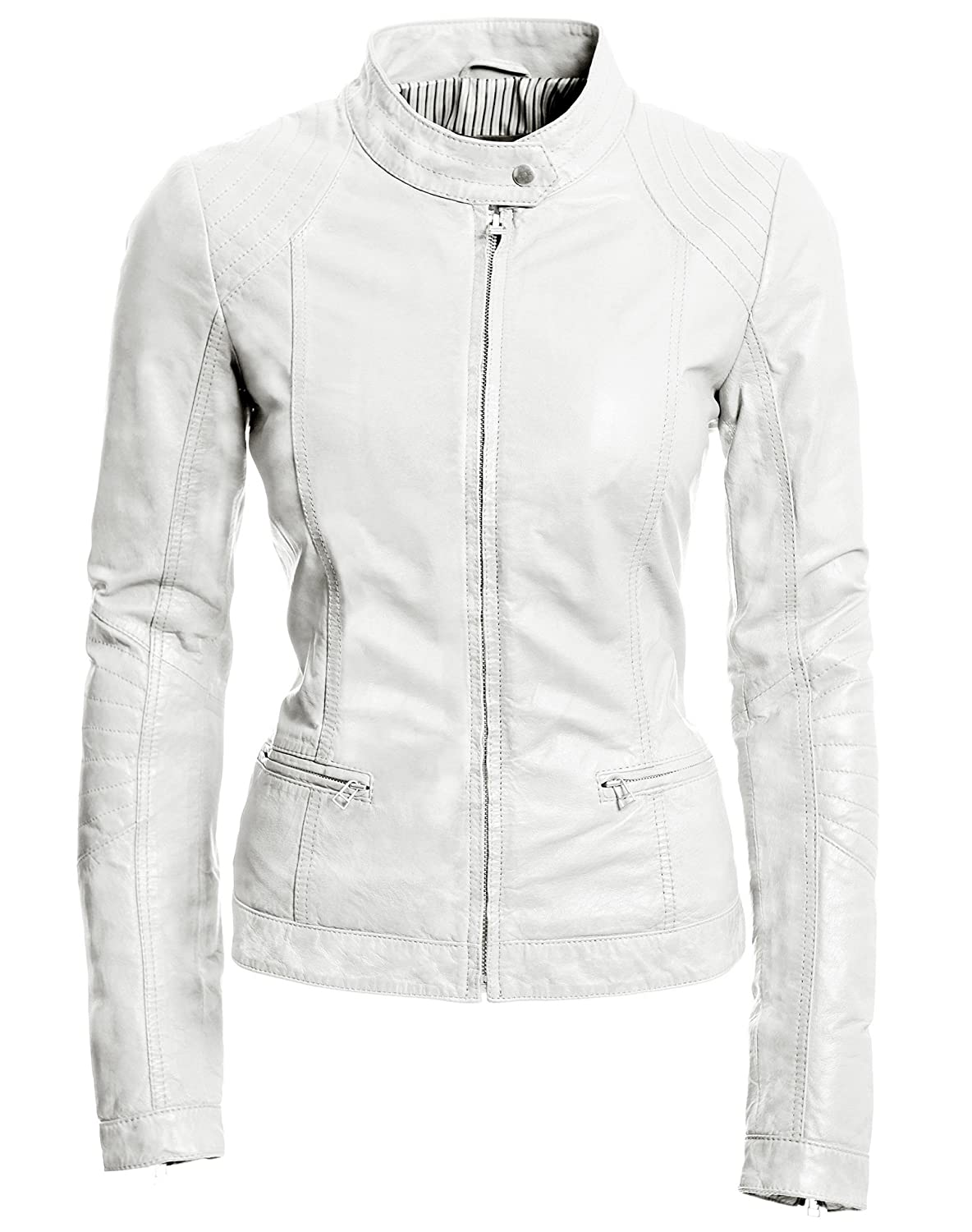 coolhides Womens White Fashion Genuine Leather Jacket