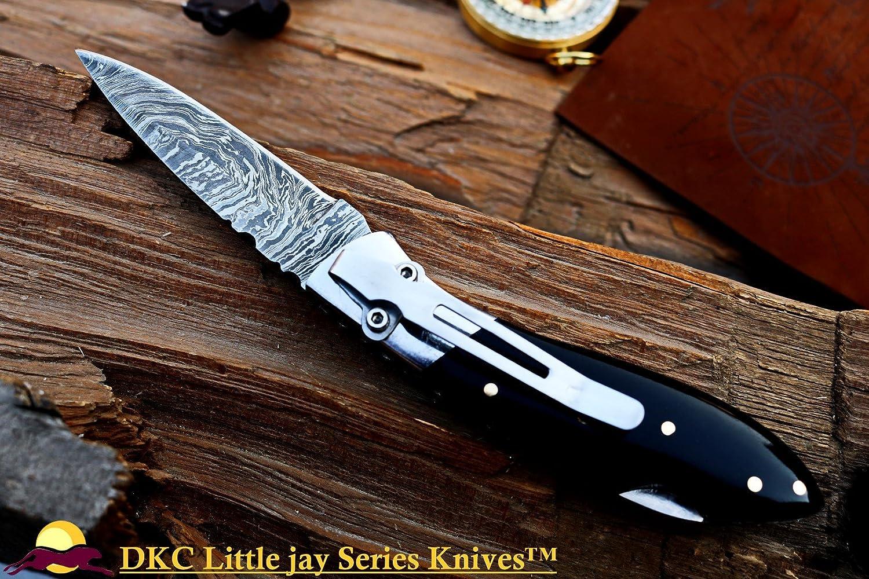 DKC Knives Sale DKC-58-LJ-BH-PC Little Jay Pocket Clip Damascus Folding Pocket Knife Buffalo Horn Handle 4 Folded 7 Long 4.7oz oz High Class Looks Incredible Hand Made LJ-Series