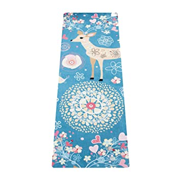 Masdery Yoga Mat-Microfiber&Upgraded Suede Rubber Eco Friendly and Skin Friendly Foldable Portable Non Slip Exercise Fitness Mat 72-inch x 24-inch x ...