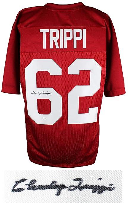 4b6df73ac05 Autographed Charlie Trippi Jersey - Red Throwback Custom JSA ...
