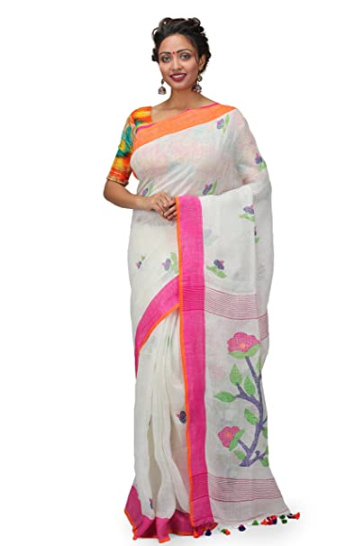 d23a4f82d1a8f The Weave Traveller Handloom Hand Woven Linen Jamdani Saree With Attached  Blouse  Amazon.in  Clothing   Accessories