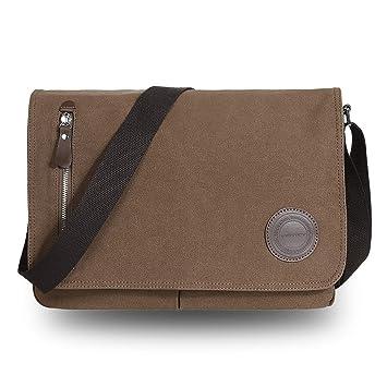VENTCY Canvas Messenger Bag Mens Shoulder Bag Men Side Bag 13.3-14 Inch Laptop Bag Satchel School Bag Boy for College Offie MacBook Brown