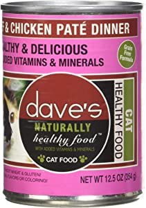 Dave'S Naturally Healthy Beef & Chicken For Cats, 12.5 Oz Can (Case Of 12 )