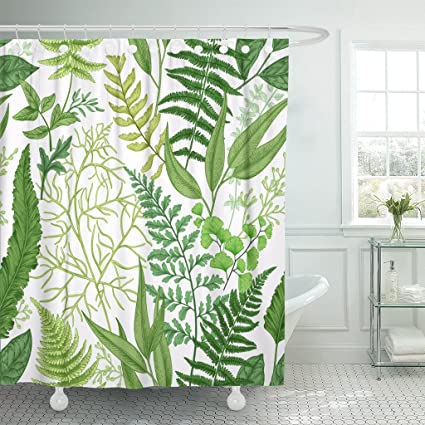TOMPOP Shower Curtain Pattern Spring Leafy Green Vintage Floral Different Ferns Botanical Waterproof Polyester Fabric 60