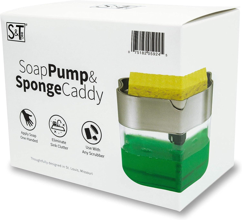 S&T INC. Soap Pump Dispenser and Sponge Holder, 13 Ounces, Silver: Home & Kitchen