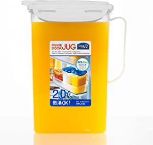 LOCK & LOCK Aqua Fridge Door Water Jug with Handle BPA Free Plastic Pitcher with Flip Top Lid Perfect for Making Teas and Juices, 2 Quarts, White