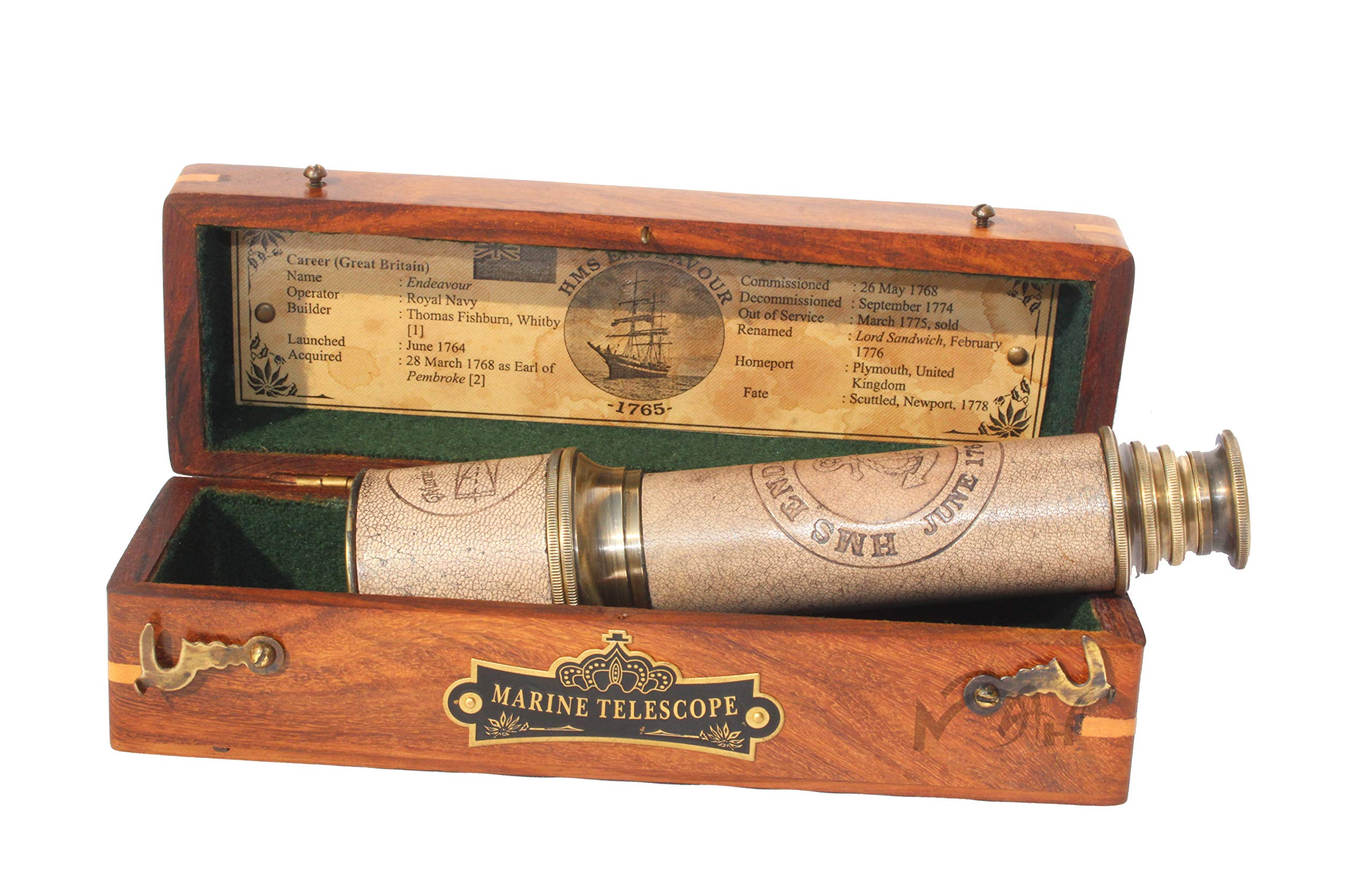 MAH 18 Inch Brass Ship Captain Telescope/Brass Spyglass with Hardwood Box. C-3111 by MAH