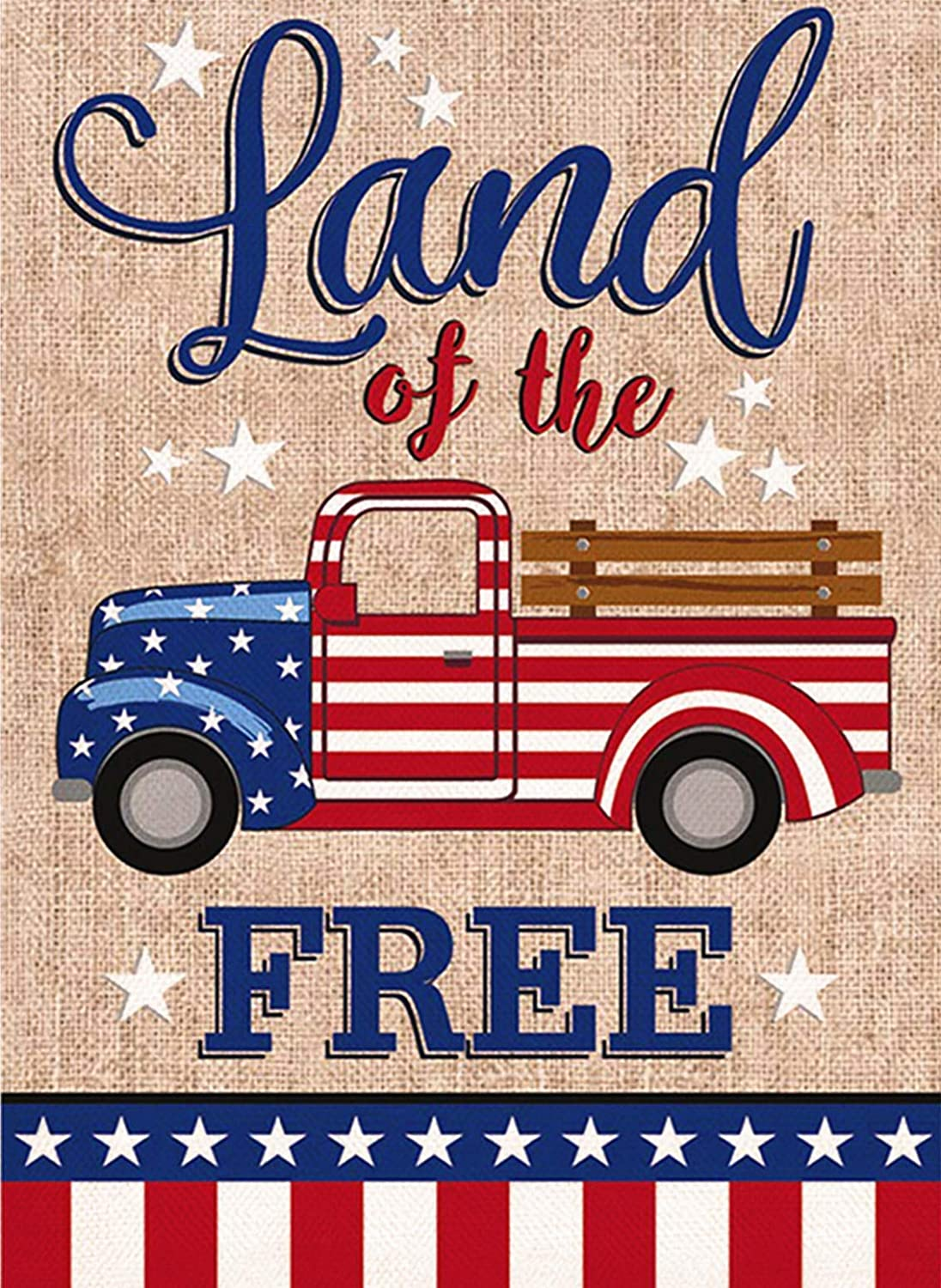 Covido July 4th Garden Flag Land of Free, Home Decorative American Patriotic House Yard Welcome Decor Truck Sign, Spring Summer Outside Decoration USA Seasonal Outdoor Small Flag Double Sided 12 x 18
