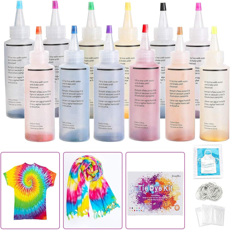 Ucradle 12 colores Tie Dye Kit, Neón Pinturas Textiles de Tela Permanentes Conjunto de Tinte Tie Tie de un Solo Paso Camisa Tela Tinte Duministros No ...