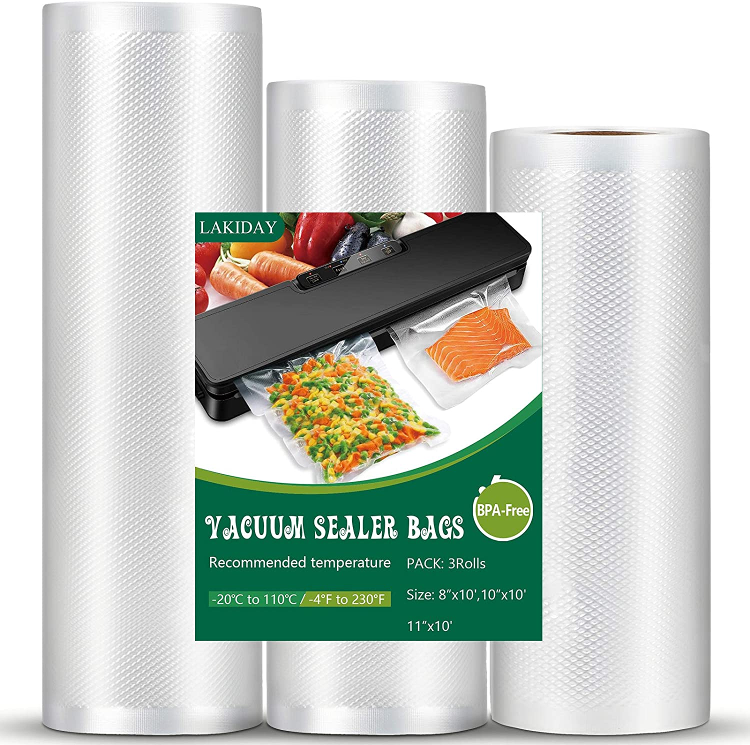 """Vacuum Sealer Bags Vacuum Seal Roll Seal a Meal Commercial Grade BPA Free Heavy Duty Great for vac storage bag Meal Prep and Sous Vide 3 Rolls 8""""x 10ft ,10""""x 10ft ,11""""x10ft(total of 30 feet)"""
