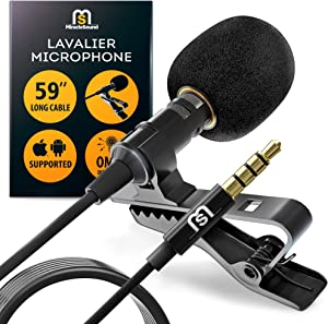 Ultimate Lavalier Microphone for Bloggers and Vloggers Lapel Mic Clip-on Omnidirectional Condenser for iPhone Ipad Samsung Android Windows Smartphones
