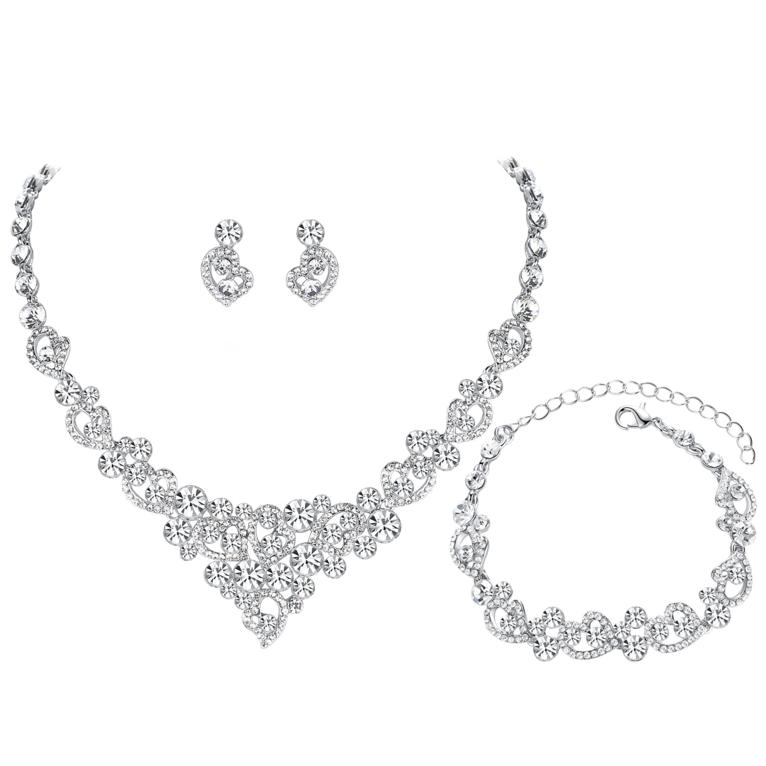 mecresh Women's Silver-tone Crystal Heart Bridal Necklace Set Bracelet Dangle Earrings