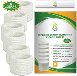 Purifize Life 6 Pack Premium Replacement Wick Filter for Honeywell Humidifier HAC-504, HAC-504AW, Filter A, HCM-350, HCM 350, HCM350W, HCM-315T, HCM-600, HCM-710 and Other Cool Mist Models