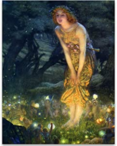 Fairy Painting Neoclassical Art Print - Midsummer Eve by Edward Robert Hughes - 11x14 Unframed Print - Perfect Vintage Home Decor and Great Gift for Those That Believe In Fairies a Pixie Dust