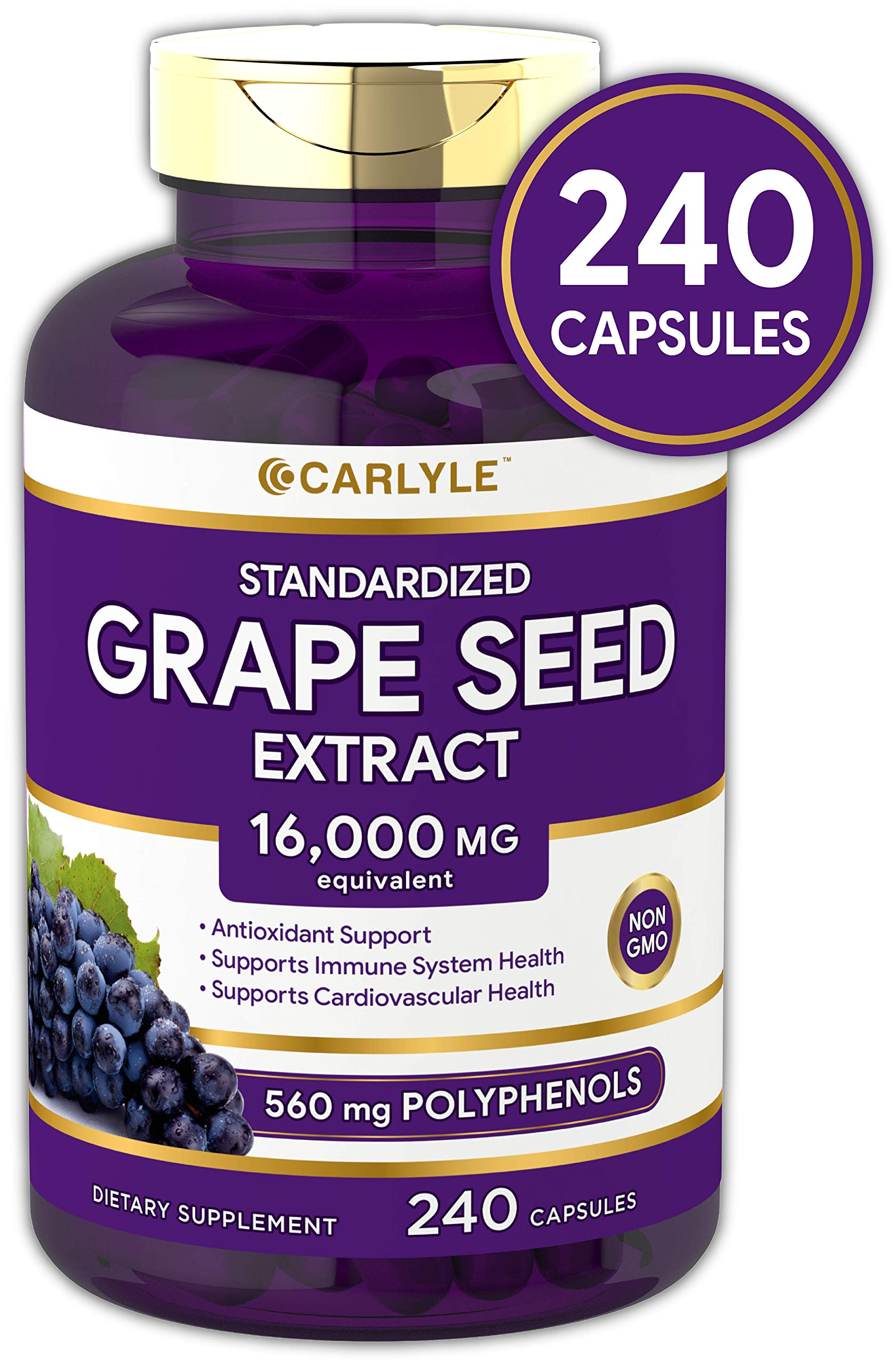Carlyle Grape Seed Extract 16,000 mg Equivalent 240 Capsules - Maximum Strength Standardized Extract   Non-GMO, Gluten Free