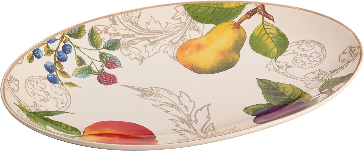 BonJour Dinnerware Orchard Harvest Stoneware 8.75-Inch by 13-Inch Oval Platter, Print