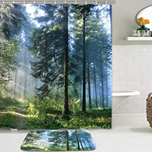 Misty Forest Shower Curtain Set with Non-Slip Bathroom Mats, Sunshine Trees Shower Curtains with 12 Hooks, Durable Waterproof Bath Curtain