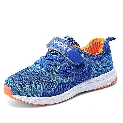Kinder Sportschuhe Laufschuhe Mesh Atmungsaktiv Kinderschuhe Sneaker  Turnschuhe Klettverschluss Wanderschuhe Hallenschuhe für Mädchen Jungen  Blau 31 d218ddd413