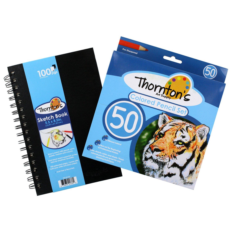 Thornton 'sアートSupply 5.5 in X 8.5 in ArtistスパイラルPerforatedスケッチパッド、ブラック&ホワイトページ、色付き50鉛筆セット B01D20Z2IY