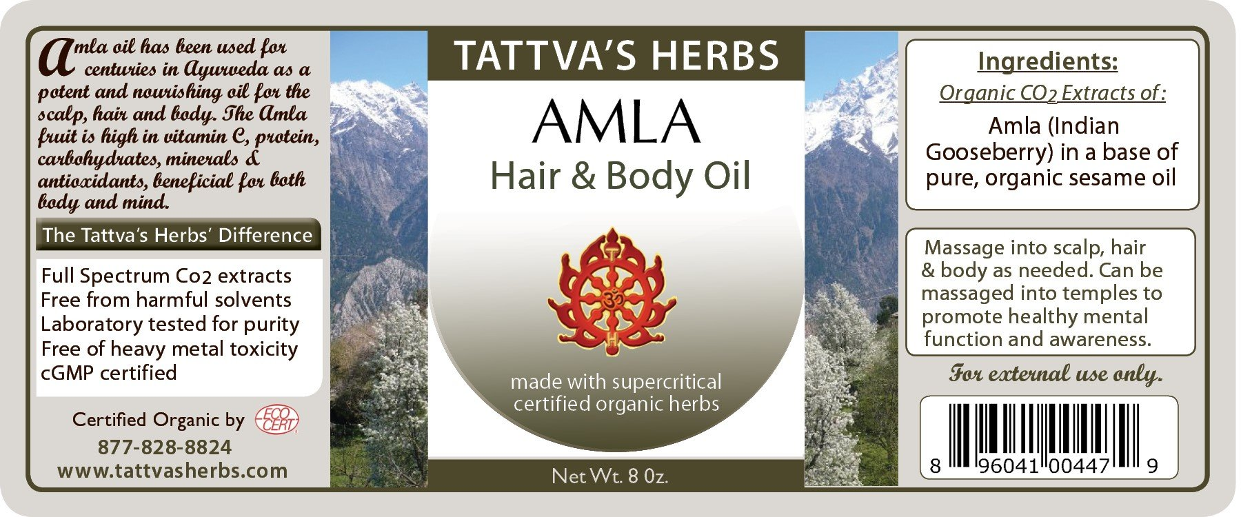 Tattva's Herbs Amla Hair Oil, Strengthens Hair Follicles, Prevents Hair Loss, Hair Growth Serum, Reduces Split Ends, Repairs Frizzy Hair, Excellent Conditioner, Relieves Itchiness, 8 oz.