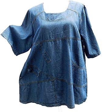 69585dc11e5c La Bass LABASS-Tunika-Bluse-Jeans-Tunika-Cotton-Kurzarm-Lagenlook ...